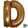 Balão Metalizado Letra D Ouro 14 Polegadas 35 Cm