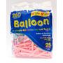 Bexiga Palito Balloon 260 Rosa Baby - 25 Unidades Pic Pic