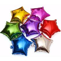 Kit 10 Balão Metalizado Estrela Dourada Prata Roxa Azul Pink