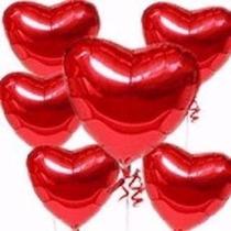 Balão Metalizado, Coração Vermelho C/45cm Kit C/20 Unid