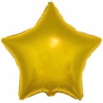 10 Balão Estrela Dourado 45cm Metalizado Bola Hélio Gas Rj