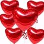 10 Balões Coração Vermelho 45cm Metalizado Bola Hélio Gas Rj