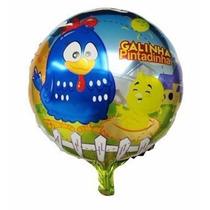 Balão Metalizado Galinha Pintadinha Enfeite Mesa 21cm, 20 Un