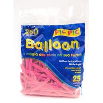Bexiga Palito Balloon 260 Rosa Forte - 25 Unidades Pic Pic