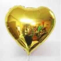 Balão Metalizado Coração Dourado - Pacote Com 25 Balões