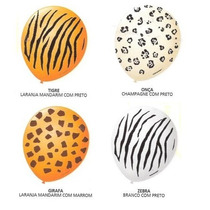 Kit C/ 100 Balão Bexigas N9 Safari Girafa Onça Tigre Zebra