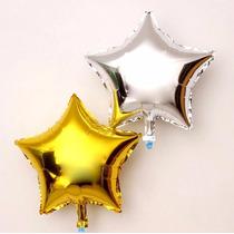 Kit C/ 10 Balão Metalizado Estrela 13cm - Prata Ou Dourado