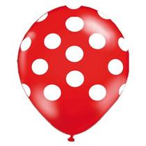Kit C/ 50un Balão Bexiga Bolas Poas Vermelho E Branco