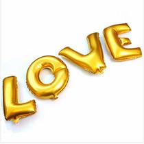 Kit C/04 Balão Metalizado Love Letra Ouro Dourada Gold 40cm