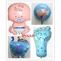 Balão Metalizado Chá Bebê/maternidade Menino, Kit Com 4 Pçs
