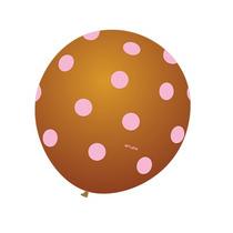 Balão Art-latex Nº9 Marrom Poá Rosa - Bexiga Bolinha 25u