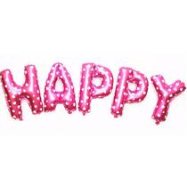 Balão Metalizado Rosa Com Corações Letras E Números 40cm
