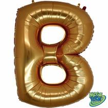 Balão Metalizado Letra B Ouro Tamanho 40 Aprox 1 M