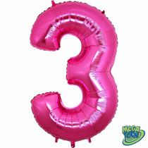 Balão Metalizado Número 3 Pink Tamanho 40 Aprox 1 M