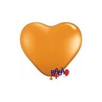 Balão Coração Laranja Nº 6 Pacote Com 50 Unidades