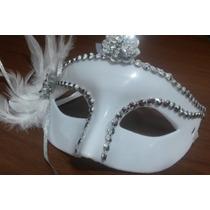 Mascara Noiva Princesa Debutante Branca Pluma Fantasia Festa