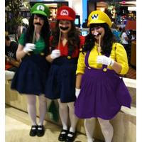 Fantasia Mario Bros Luigi Wario Feminina Jardineira E Boina