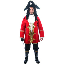 Fantasia Capitão Gancho Adulto Pirata Completo C/ Chapéu