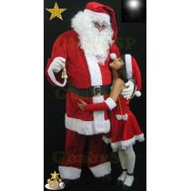 Roupa Fantasia Papai Noel Veludo Profissional Luxo Completa
