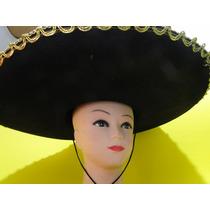 Chapeu Mexicano Preto Bordado 60cm Estilo Zapata