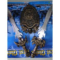 Kit Escudo Com Espadas Gladiador Festival Fantasia Medieval