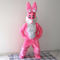 Mascote De Coelho Da Páscoa Rosa E Branco / Fantasia Coelho