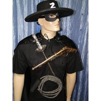 Zorro Capa Preta Chapeu Chicote Espada Arma Mascara