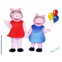 Fantasia Peppa E George Pig Animação Pelúcia Cabeção Luxo