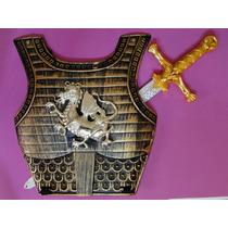 Armadura Peitoral 34x31cm +espada Dourada Gladiador Medieval