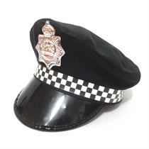 Chapéu Quepe Boina Policial Preto Fantasia Festa Cosplay