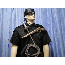 Zorro Capa Preta Bandana Chicote Espada Arma Mascara