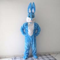 Fantasia De Coelho Da Páscoa Azul E Branco / Mascote Coelho