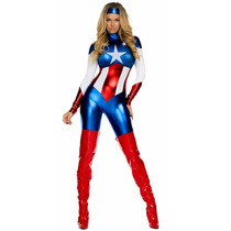 Fantasia Capitão América Modelo Feminino - Pronta Entrega