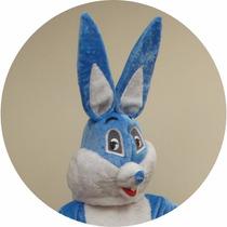Fantasia De Coelho Da Páscoa Adulto G Mascote Cabeção Azul