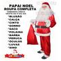 Roupa Papai Noel Fantasia + Barba Peruca Luvas Óculos Sino