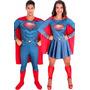 Fantasia De Casal Superman Homem De Aço E Super Mulher Aço