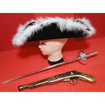 Mosqueteiro Espada Pistola Chapeu Zorro Pirata Sparrow Festa