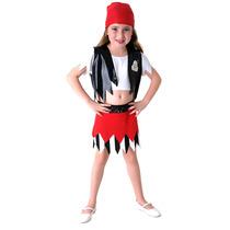 Fantasia Pirata Feminino Infantil Completa C/ Bandana