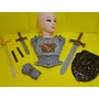 Fantasia Guerreiro Medieval Peitoral Bracelete Espada Escudo