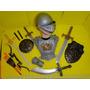 Elmo Armadura Peitoral Bracelete Espada 02 Escudos Arco