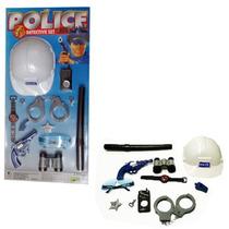 Kit Policial Infantil 10 Peças Com Capacete