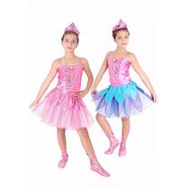Fantasia Barbie Sapatilhas Mágicas Luxo - Rosa E Azul