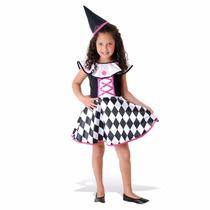 Fantasia Colombina Infantil Carnaval Rosa Preto Branco M