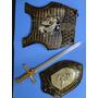Conjunto Dragão Dourado Escudo Armadura E Espada