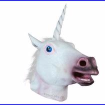 Máscara Cabeça De Unicórnio Cavalo Branco Látex Fest Cosplay