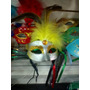Kit Mascara Carnaval Feminina Com Penas Luxo 18 Und