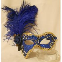 Mascara Sofi Luxo Gala Festa Azul/dou Brocal Plumas