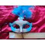 Máscara Carnaval Azul E Prateado Com Plumas Penas E Pedra