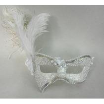 Mascara Sofi Luxo Gala Bordada Plumas Festa Branca Noiva