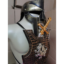 Armadura Gladiador Dragão Capacete Elmo Espada Dourada